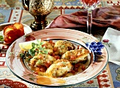 Monkfish piccata with diced tomatoes