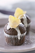 Chocolate muffins with sugared rose petals