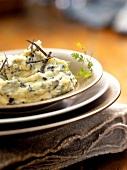 Potato and cucumber puree with truffle