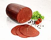 Beef ham (Rindersaftschinken), pepper, tomato and salad