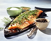 Graved lachs with dill, salt and pepper