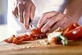 Cutting up a red pepper