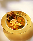 Fish soup with shellfish and mussels
