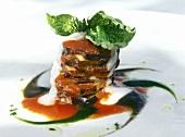 Melanzane con la mozzarella (aubergine tower with mozzarella)