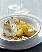 Mustard pears, fresh goat's cheese, honey & nuts