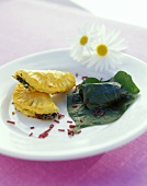 Goat's cheese pasties with puff pastry, stuffed vine leaves
