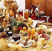 Breakfast buffet in rustic restaurant