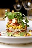 Tower of lobster, crabmeat, avocados and sweetcorn
