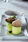 Cucumber rolls with fish (Hamachi and Uni roll)