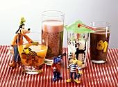 Various breakfast drinks for children