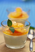 Bavarois with apricots and lemon balm