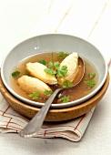 Semolina dumpling soup with parsley