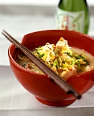 Salmon and coconut curry with egg noodles