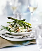 Truffled mashed potato with green asparagus and sauce