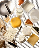Various types of cheese and cheese-making ingredients