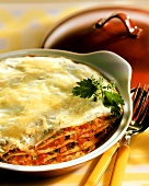 Pancake lasagne, with cheese topping