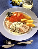 Redfish fillet with cress sauce, carrots and potatoes