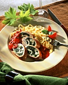 Turkey & spinach roulades with tomato sauce & ribbon pasta
