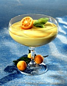 Orange cream mousse with kumquats