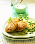 Lentil cakes with ginger, with cucumber salad