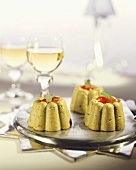 Avocado mousse and white wine glasses