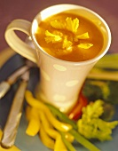 Tomato soup with calendula flowers
