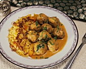 Vegetable balls in curry sauce (Sabji kofta) with rice
