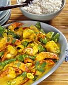 Thai shrimp curry with rice