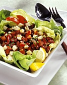 Bean salad with smoked cheese and tomatoes