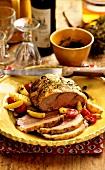 Provencal roast lamb, pistou and rosemary potatoes