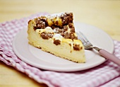 Piece of crumble cake with chocolate