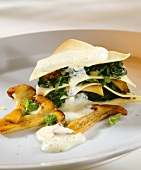 Spinach and cep lasagne with cream sauce