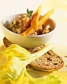 Pear & walnut dip with raw vegetables, farmhouse bread