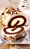 Chocolate cream roll with grated chocolate