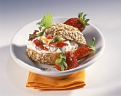 Roll with strawberry and sea buckthorn quark and lemon balm