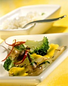 Celery curry with coconut sauce and rice