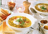 Spicy apricot & carrot soup with curry & cinnamon; Coca Cola