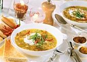 Scharfe Aprikosen-Möhren-Suppe mit Curry und Zimt; Coca Cola