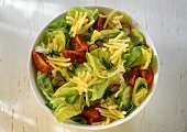 Mixed salad with cucumber, tomatoes and cheese sticks