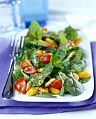 Chicken salad with beetroot leaves