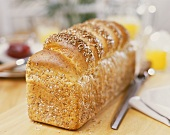 Wheat bread with oats on breakfast table