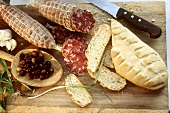 Salami, bread and olives from Piedmont