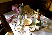 After the meal: table scene in French restaurant