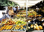 Market stall with exotic fruit and vegetables