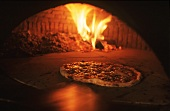 Pizza in wood-burning oven