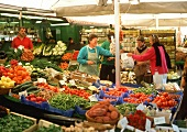 Market stall with many types of fresh vegetables