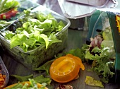 Still life with salad leaves, egg-timer and frozen foods