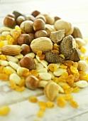 Nuts, almonds and raisins