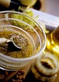 Mustard vinaigrette in glass bowl