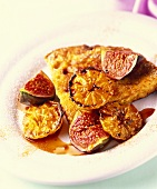 Orange tart with baked oranges and figs